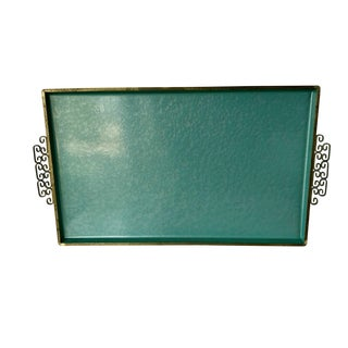 Vintage Mid-Century Kyes Moire Glazed Teal Enameled Tray For Sale