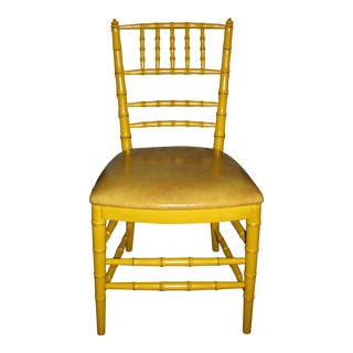 Mid-Century Modern Hollywood Regency Yellow Bamboo-Style Chair