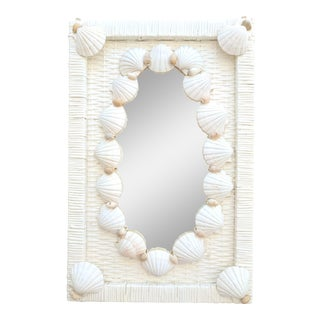 Vintage White Shell and Wicker Mirror For Sale