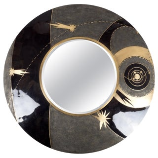 Constellation Mirror in Black Shagreen Shell & Bronze-Patina Brass by Kifu Paris For Sale