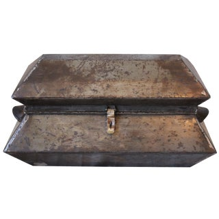 Antique Steel Sarcophagus-Style Box