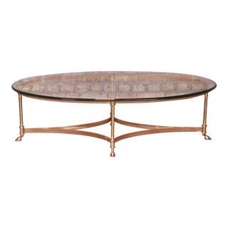 Labarge Hollywood Regency Brass and Glass Hooved Feet Cocktail Table, Circa 1960s For Sale
