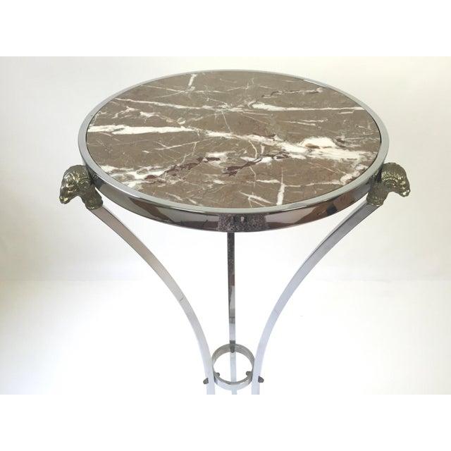 Maison Jansen Italian Regency Steel, Brass & Marble Rams Head Pedestal Table For Sale - Image 4 of 7