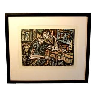 "1970s Vintage Irving Amen ""Pensive Model"" Artist Proof Original Woodcut Print For Sale"