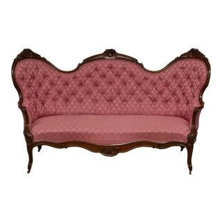 Antique Victorian Renaissance Revival Walnut Tufted Sofa