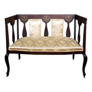 Victorian Parlor Yellow Settee For Sale