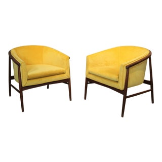 1960s Vintage Gibbings Gold Velvet Lounge Chairs- A Pair For Sale