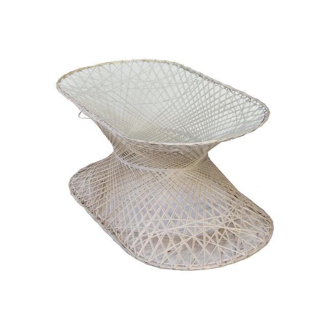 Boho Chic Oval Spun Fiberglass Coffee Table For Sale - Image 3 of 6