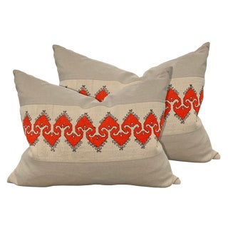 20th Century Bulgarian Embroidered Pillows - a Pair For Sale