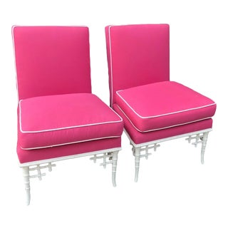 Pair of Hollywood Regency Pink & White Outdoor Club Chairs For Sale