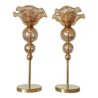 Mid-Century Modern Flower Murano Glass Table Lamps, Attributed to Seguso - a Pair For Sale