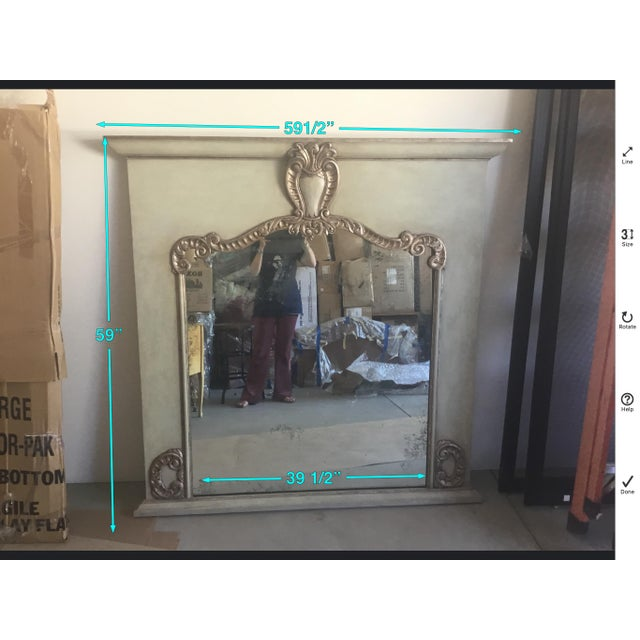2000 - 2009 Contemporary Antiqued Silver Fireplace Mirror For Sale - Image 5 of 9