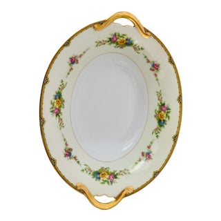 "Elegant Fine Noritake China Marked ""m"" Japan Floral Design Serving Oval Bowl For Sale"