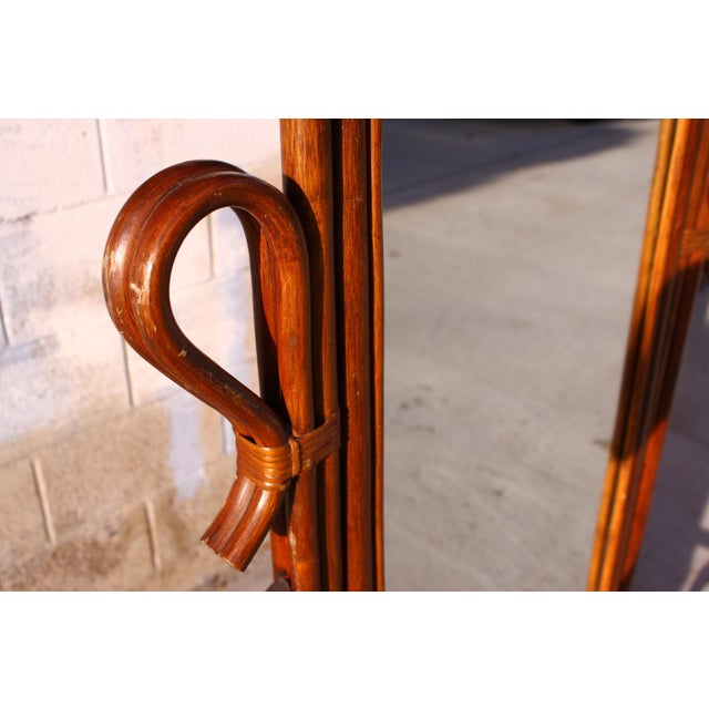 Mid Century Bent Rattan Cheval Mirror - Image 8 of 11