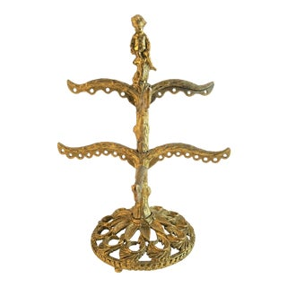 Vintage Gold Ormolu Earring Holder For Sale