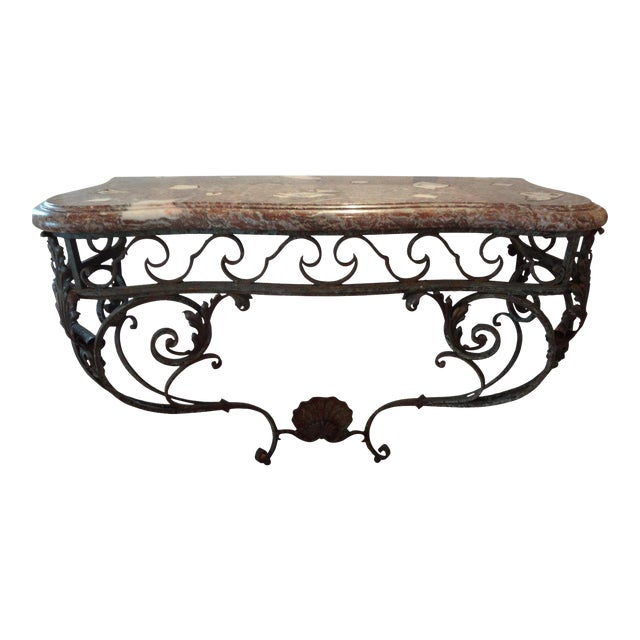 19th Century Regency Wrought Iron Console Table With Marble Top For Sale