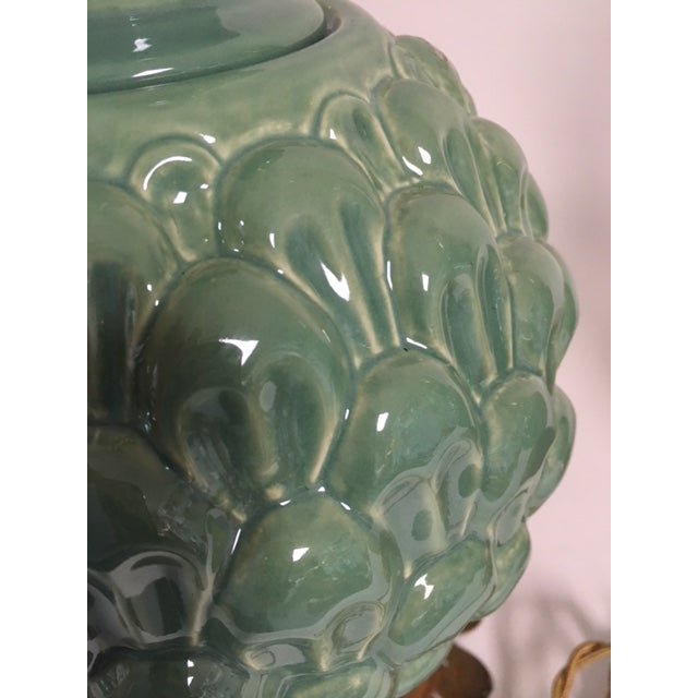 2010s Jade Green Side Table Lamps - a Pair For Sale - Image 5 of 10