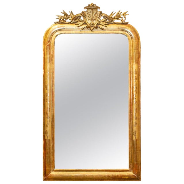 Antique French Gilt Louis Philippe Mirror With Ornate Cartouche and Floral Frame For Sale