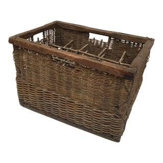 Vintage Belgian Wicker Wine Rack Basket For Sale