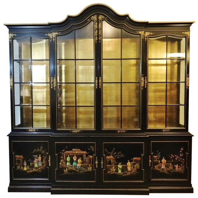 Vintage Gold Leaf Hand-Painted China Cabinet For Sale