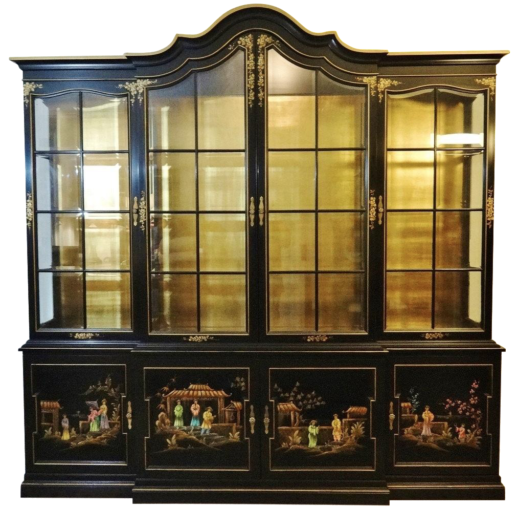 Charmant Vintage Gold Leaf Hand Painted China Cabinet