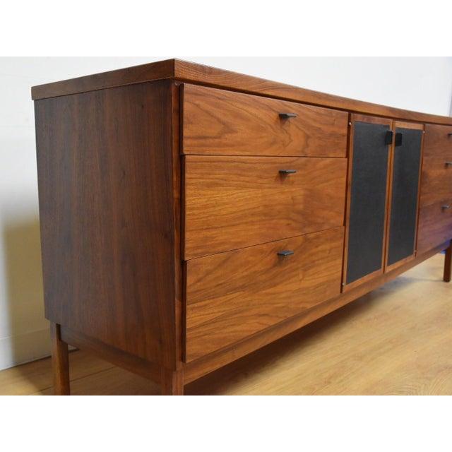 Milo Baughman Walnut and Black Vinyl Dresser For Sale - Image 4 of 11