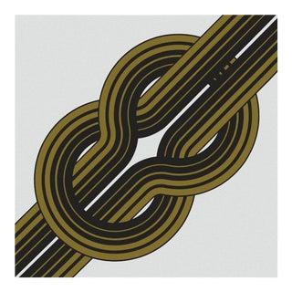 Vintage 1970s Gold Knot Framed Supergraphic Print For Sale