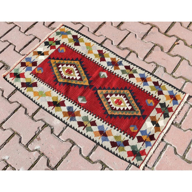 Islamic Turkish Tribal Hand-Knotted Kilim Rug - 1′10″ × 3′4″ For Sale - Image 3 of 6