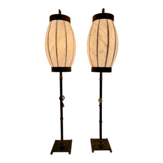 Asian Hollywood Regency Modern Faux Bamboo Lamps of Forged Iron With Convex Shades - a Pair For Sale
