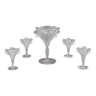 Signed Stevens & Williams Five-Piece Wheel Cut Centerpiece or Epergne For Sale