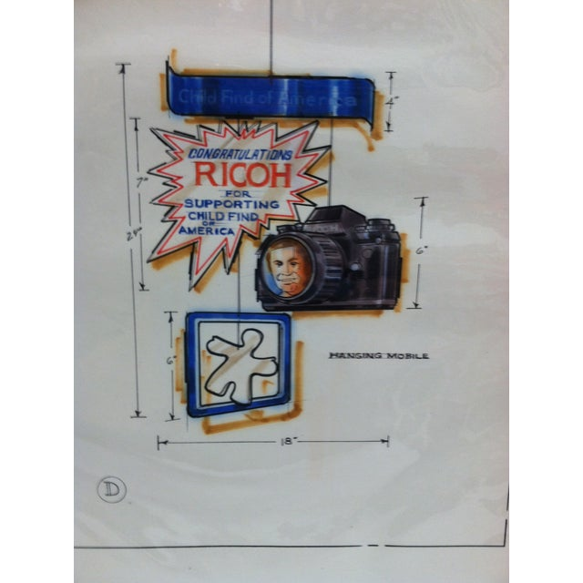 "American 1980s Displayco East ""Congratulations Ricoh - for Supporting Child Find of America"" Original Advertising Drawing For Sale - Image 3 of 5"