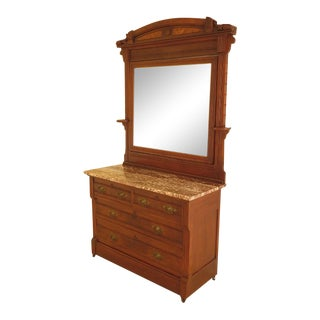 Early 20th Century Antique American Victorian Walnut Mirrored Dresser For Sale
