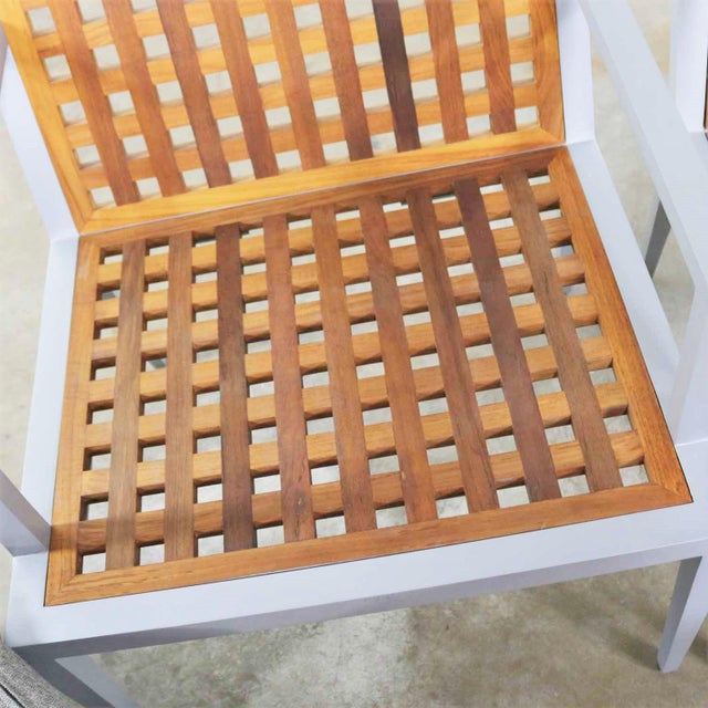 Modern Pair of Aluminum and Teak Archetype Patio Chairs by Michael Vanderbyl for McGuire For Sale - Image 3 of 13