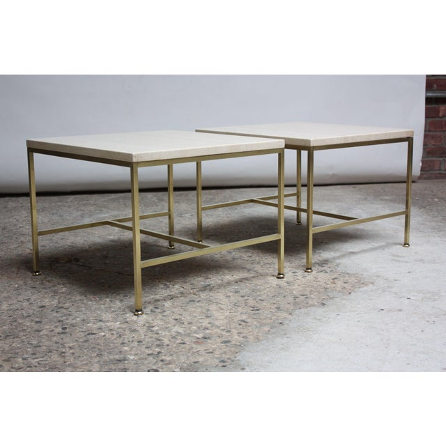 Pair of 1950s Paul McCobb for Directional side / occasional tables composed of tubular brass frames / brass feet and...