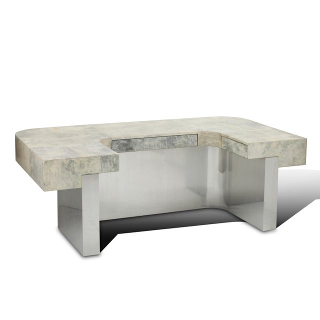 Brioni Desk (Gray Parchment & Stainless Steel) by Sylvan s.f. For Sale In San Francisco - Image 6 of 6