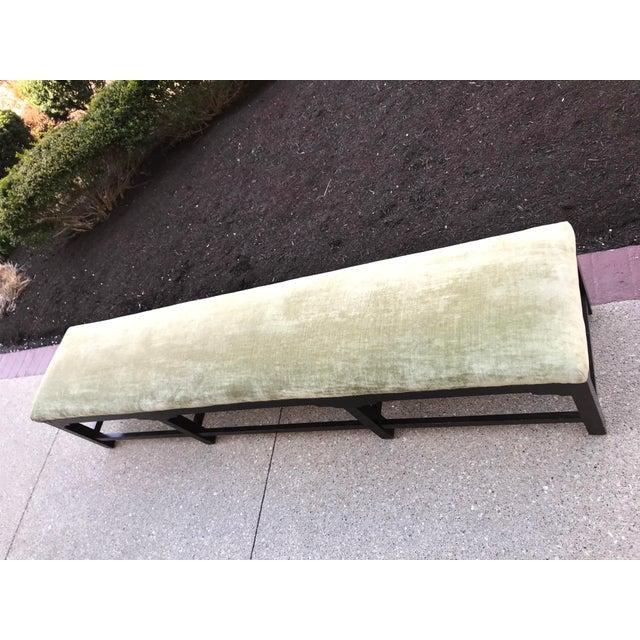 Wood Art Gallery Velvet Bench Mahogany Square Georgian Leg With Bracket For Sale - Image 7 of 9