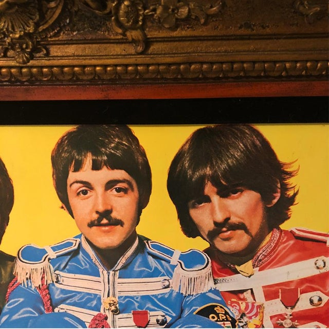 Traditional Antique Large Ornate Victorian Mirror W/ the Beatles Sgt Peppers Print For Sale - Image 3 of 9