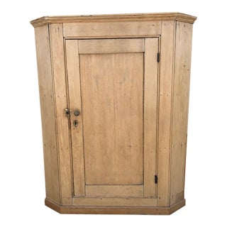 English Pine 1 Door Corner Cabinet For Sale