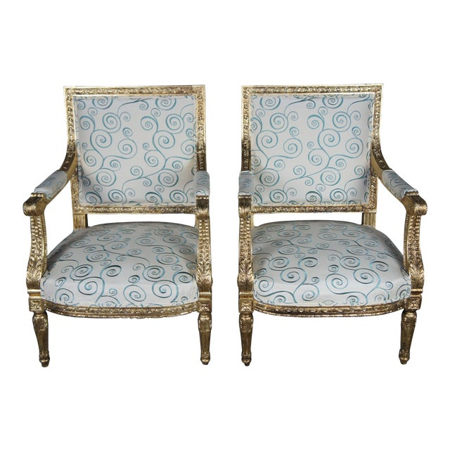 Antique 19th Century Louis XVI Fauteuil Neoclassical French Accent Arm Chairs - a Pair For Sale