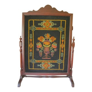 1910s Victorian Embroidered Fire Screen For Sale