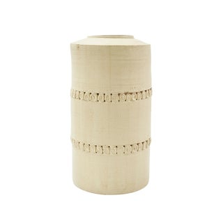 20th Century Nancy Zager Ornate Off-White Ceramic Vase For Sale