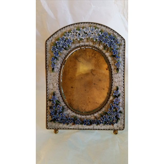 Italian Antique Floral Mosaic Photo Frame For Sale - Image 3 of 6