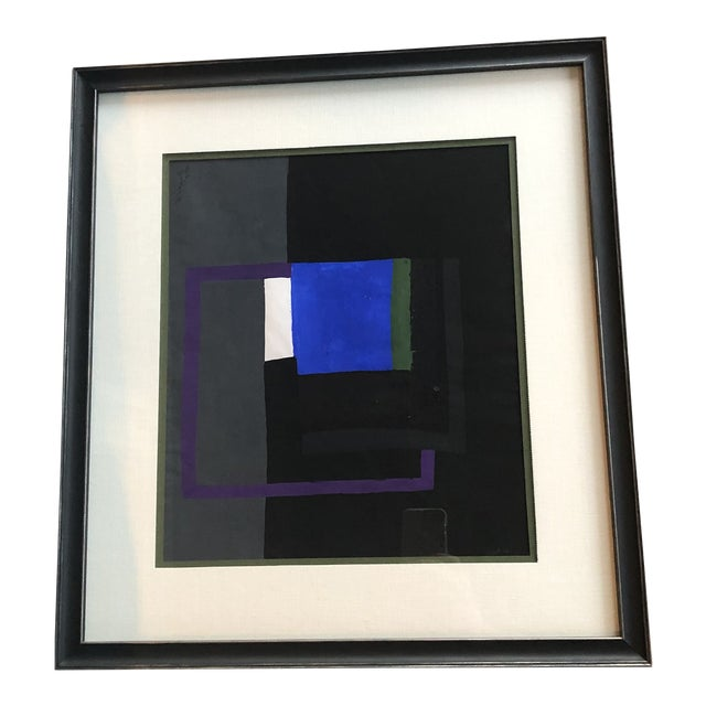 Bernard Segal Abstract Gouache Painting For Sale