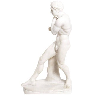 19th Century Antique Grand Tour Canova's Damoxenos the Boxer Marble Reduction Sculpture For Sale