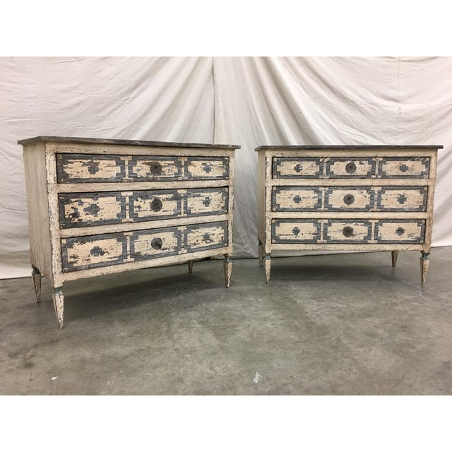Late 18th Century Pair of Italian Painted Chests / Commodes - 18th C For Sale - Image 5 of 13