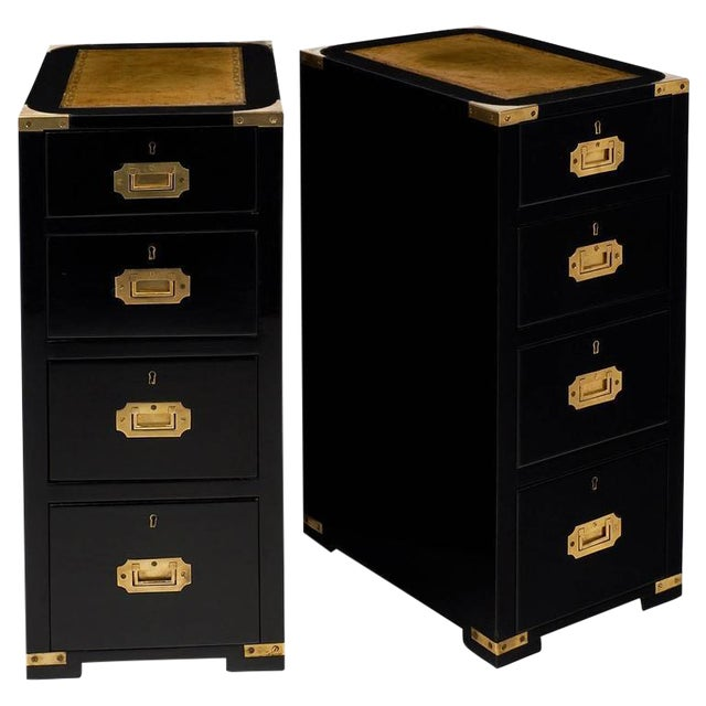 English Campaign Style Ebonized Mahogany Side Tables- A Pair - Image 1 of 10