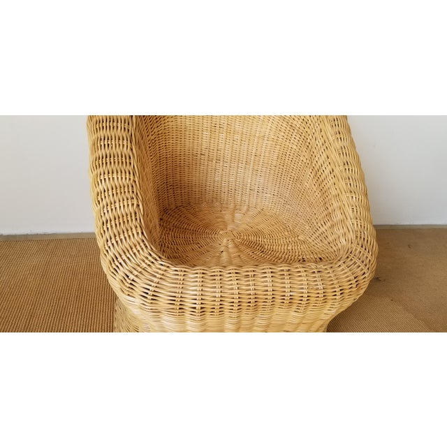 Wicker Vintage Woven Wicker Club Chair For Sale - Image 7 of 11