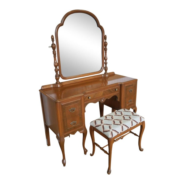 1930s Post Deco Walnut Traditional Bedroom Vanity & Mirror With Bench For Sale