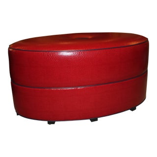 Modern Robert Allen Duralee Group Red & Navy Montecito-Elliptical Tight Ottoman For Sale