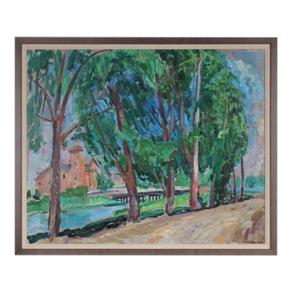 20th Century Carmel Trees Oil Painting